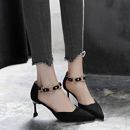 HRCxue zapatos de la Corte Sandalias de mujer con cinturón Salvaje y Hebilla de tacón Alto con zapatos de tacón de Aguja Romanos