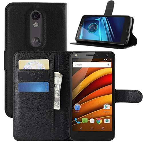 HualuBro Moto X Force Hülle, [All Aro& Schutz] Premium PU Leder Leather Wallet HandyHülle Tasche Schutzhülle Flip Case Cover für Motorola Moto X Force Smartphone (Schwarz)