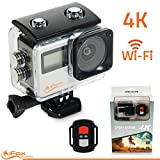 iFox Creations Sports Action Camera 4k WiFi with Dual Screen HD Waterproof Video Cam with 170 Degree Wide Angle Lens. Remote Control, 17 Mounting Accessory Kits and 16MP Photo - Silver