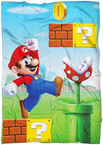 Große Super Mario Maker Wohndecke 160 x 200 cm super weiche Flanell-Decke Kuscheldecke Sofadecke Fleece-Decke Luigi Peach Bowser Yoshi Toad Wario Buu Huu Rosalina Donkey Kong pass. zur Bettwäsche