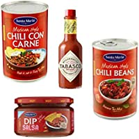 Santa Maria Set picante: 1 x Chili con carne, 1 x Chili Beans, 1 x Salsa picante DIP, 1 x Tabasco McIlhenny