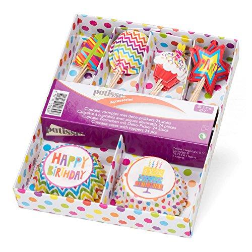 patisse - Pirottini per Cupcake, con Plettri Decorativi, Carta, Multicolore, 5 x 5 x 5 cm, 24 unità