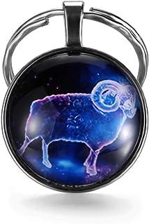 WDam Signos del Zodiaco Llaveros Constelaci/ón Lindo Cabochon Llavero Escorpio Sagitario Virgo Colgante Regalo de cumplea/ños Escorpio
