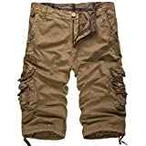 KangJiaoNanG Hombres pantalón Corto Active Ankle Pantalones Casuales Elástica Lavable Botones (Color : Khaki, Size : 30)