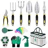 Yuanj Herramientas Jardinería Set 12Pcs Kit de Jardinería Aleación de Aluminio con Bolsa Organizadora, para Mantenimiento de Jardines, Amantes de la Jardinería/Mamá