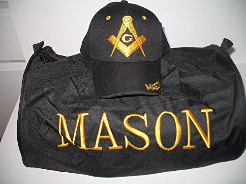 Black Mason Freemasons Freemason Utility Duffle Sports Travel Bag Hat Gift Set