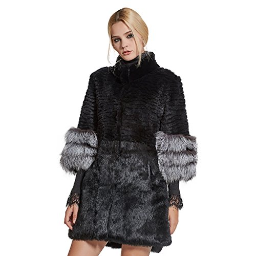 Women's Genuine Rabbit Fur Coat with Fox Fur Cuffs Warm Winter3/4 Sleeves Coat,4