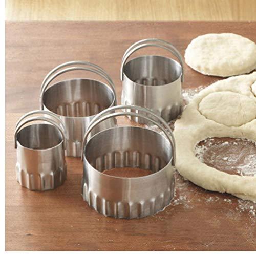 TOSSPER 4Pcs / Set Runde Welle Edelstahl Ausstechformen Mit Pie Griff Fondent DIY Kuchen Cutter Biscuit Scones Pasty Küchenhelfer