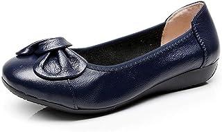 [WOOYOO] レディースパンプス オフィス フラットシューズ 美脚 歩きやすい 日常履き リボン付き かわいい 夏 蒸れない クッション インヒール 美脚 エナメル 防水 コンフォート ママシューズ ブラック