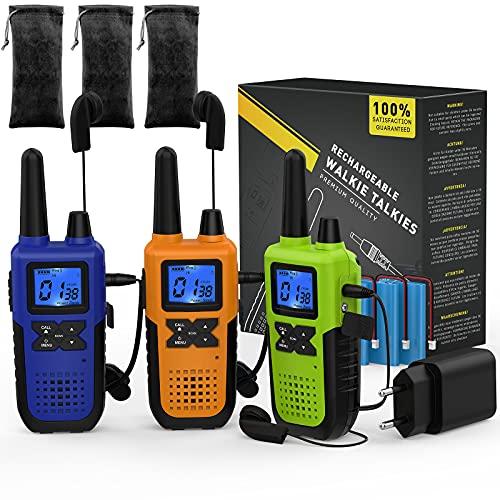 3 Long Range Walkie Talkie Rechargeable für Erwachsene - PMR446 Funkgerät Walkie Talkie 3er Set Aufladbar - Long Distance Walkie-Talkie mit Akku Headset und Mic Set USB Ladegerät Schlüsselband