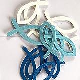 Qiwenr 150 Pcs Peces de Madera Decoraciónes,3.5CM Peces y Mesas Peces de Madera para Bautizo DIY Manualidades Decorativa de Madera Confeti (Azul, Azul Ligero, Blanco)