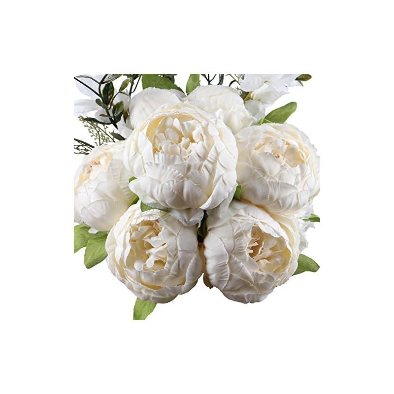silk flower arrangements leagelfake flowers vintage artificial peony silk flowers bouquet wedding home decoration, pack of 1 (spring white)