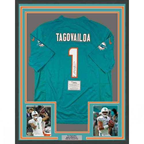 Framed Autographed/Signed Tua Tagovailoa 33x42 Miami Dolphins Authentic Teal Nike Game Football Jersey Fanatics COA