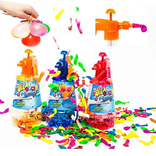 esto24 2er Set Wasserbomben Pumpe je 1,5 Liter mit 700 Wasserballons Luftballons Wasserspaß für die ganz Familie