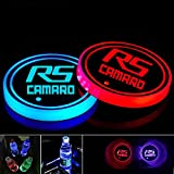 2pcs LED Cup Holder Lights for Camaro RS, LED Car Coasterss with 7 Colors Luminescent Light Cup Pad, USB Charging Cup Mat Accessories(forRS)