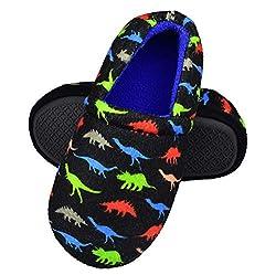 5. RliliR Ever Kids Non-Slip Memory Foam Dinosaur Slippers