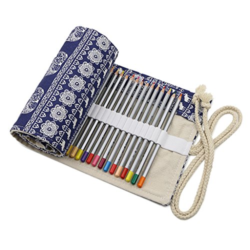 BTSKY Canvas Colored Pencil Roll Wrap 72 Slot-Adult Coloring Pencil Holder Organizer for 72 Colored Pencils, NO Pencils (Elephant)