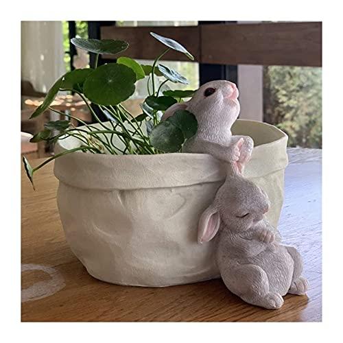 彫刻 置物・オブジェ ウサギの像の装飾樹脂かわいい動物の彫刻芸術家の屋外のリビングルームの植木鉢装飾工芸品 工芸品の彫刻