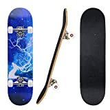 """Skateboard, 31""""x 8"""" Standard Skate Boards with 7 Layers Maple Deck for Beginner"""