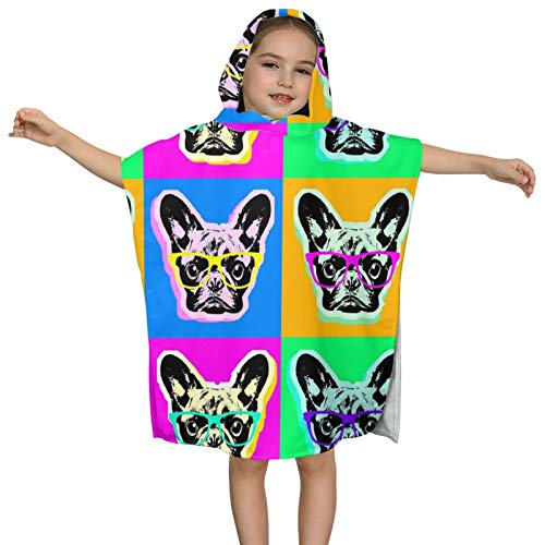 Kids' Bath Towels Hooded French Bulldog Pop Art Super Soft Absorbent Towel Bath Pool Beach Boys and Girls