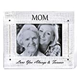 BOLUO Mom Picture Frames 5x7 Rustic Wood Mother Love Photo Frame Distressed White (MOM57-W)