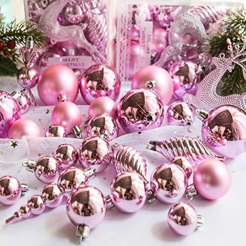 Lunji. 24pcs Set Boule de Noel, Boules De Noël Déco pour Sapin de Noël Paillette Décorations Scintillantes (Rose)