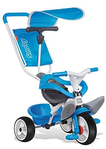 Smoby - 444208 - Tricycle Baby Balade - Tricycle Evolutif avec Roues Silencieuses - Dispositif Roue Libre - Bleu