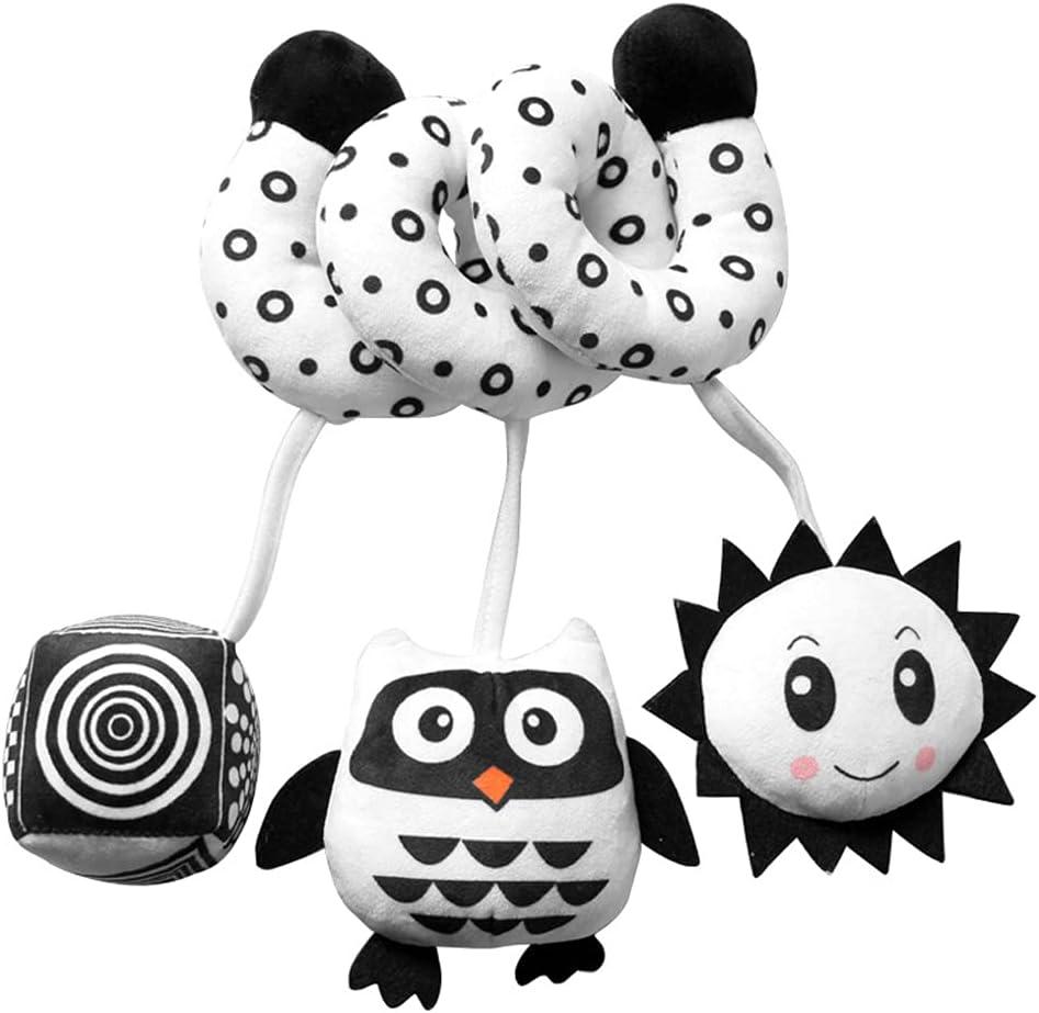 Ebrima Baby Pram Crib Activity Spiral Plush Toys & Stroller Toy & Car Seat Hanging Toys & Animal Education Plush Toys & 3 6 9 12 Months Baby Rattles (Owl)