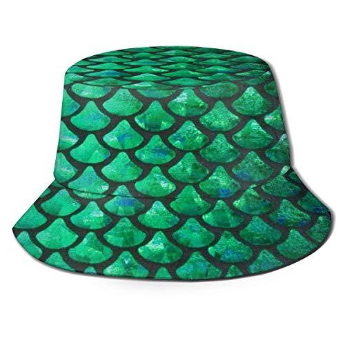 AJOR Green Mermaid Scales Print Fisherman Sombreros Unisex Bucket Hat Sun Cap para Golf Pesca Caza Senderismo Camping Regalos