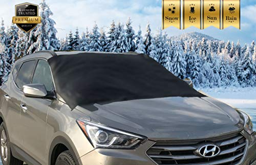 Premium Windshield Snow Cover for All Vehicles, Covers Wipers, Ice, Frost Guard, No More Scraping, Door Flaps Windproof Magnetic Edges