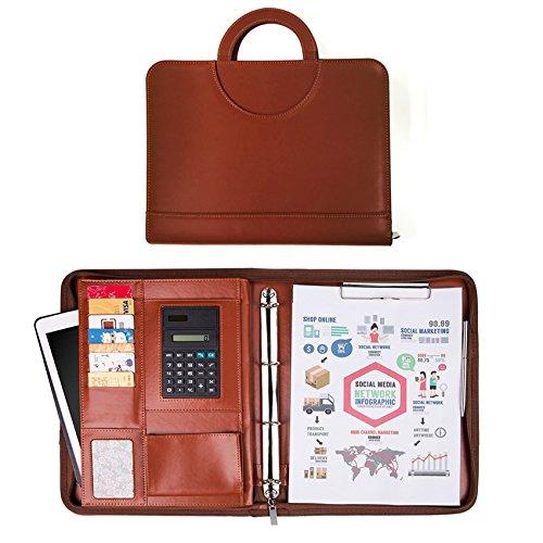 Porte Documents,Organiseur, Porte documents en cuir multifonctionnel dossier de conférence de A4 avec la calculatrice et les poignées magnétiques pliables, entièrement zippé, preuve de l'eau (Noir)