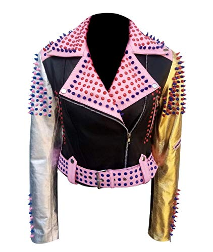 LP-FACON Chaqueta de cuero negro para mujer con tachuelas de color rosa dorado