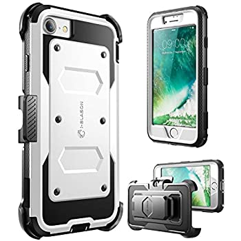i-Blason Armorbox Case Designed for iPhone SE2 2020 /iPhone 7/iPhone 8 Built-in [Screen Protector] Full-Body Rugged Holster Case for iPhone SE 2nd generation White