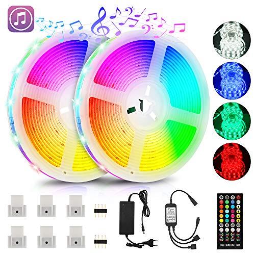 LED Strip 10m, RGB LED Streifen mit Fernbedienung und Netzteil, 5050 LED Stripes Lichterkette Sync zur Musik, IP65 Wasserdicht mit 16 Farbwechsel, Anwendung für Zuhause, Schlafzimmer, TV und Partydeko