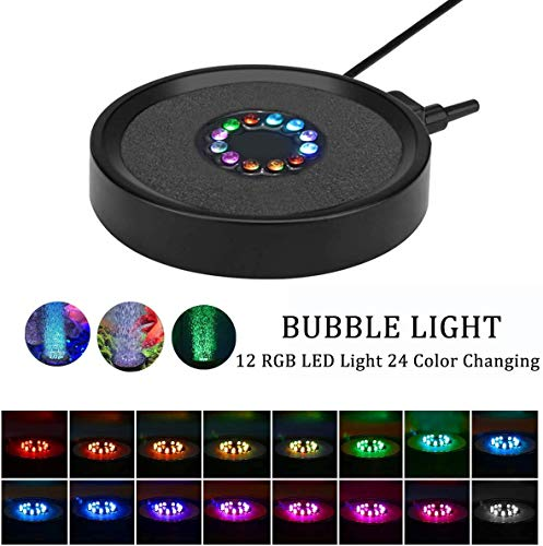 LEDGLE Aquarium Bubble Licht, Beleuchtung Runde Aquarium Air Bubbler Licht, RGB Beleuchtung Aquariumbeleuchtung mit Auto 24 Farbwechsel LEDs, Stones Zubehör Dekoration