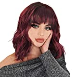 Short Bob Wig With Bangs Red Natural Wave Synthetic Wig Heat Resistant Fiber Wig Wet And Wavy 14 Inch Shoulder Wig With Bangs