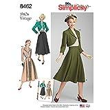 Simplicity US8462U5 1940's Fashion Women's Vintage Blouse, Bolero, and Skirt Sewing Patterns, Sizes 16-24