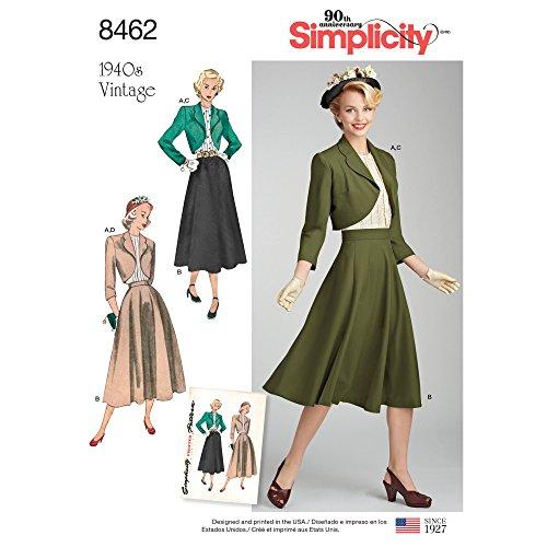 Simplicity US8462U5 1940er Mode Damen Vintage Bluse, Bolero und Rock Schnittmuster Größen 44-52