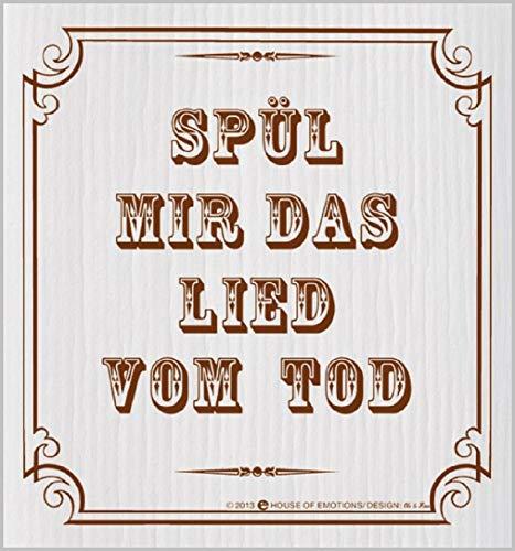 'Manique vaisselle, Manique lavable avec inscription en allemand : spül Me le chanson par la mort
