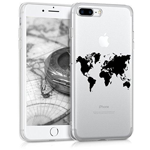 kwmobile Funda compatible con Apple iPhone 7 Plus / 8 Plus - Carcasa de TPU y diseño de mapa del mundo en negro / transparente