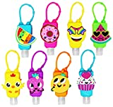 KINIA 8 Pack Empty Mixed Kids Hand Sanitizer Travel Sized Holder Keychain Carriers ~ 8-1 fl oz Flip Cap Reusable Portable Empty Bottles (8-Variety Pack MIXED)