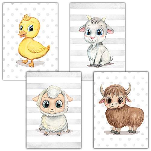 Frechdax® Kinderzimmer Deko 4er Set Poster Baby Wandbilder DIN A4 | Waldtiere Safari Afrika Tiere Tierposter (4er Set Ente, Yak, Ziege, Schaf)