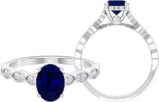 Anillo solitario de corte ovalado de 8 x 6 mm, anillo de moissanita D-VSSI, anillo de compromiso de oro blanco de 14 quilates