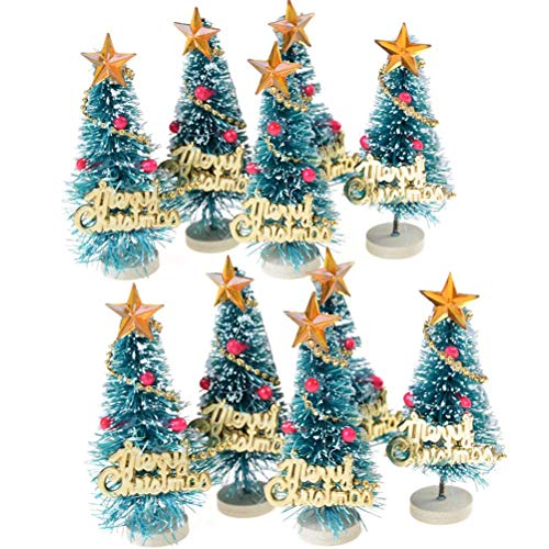 WarmShine 10 Pack Artificial Mini Christmas Trees Mini Pine Trees Frosted Sisal Trees Wood Base Home Party Decoration Ornament DIY Craft, Merry Christmas