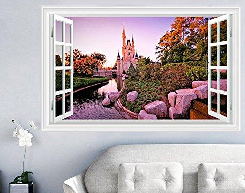 Skyllc® Faux Window Castle Garden Sticker Mur 3D de Style Art Stickers muraux Affiche Accueil Décorations