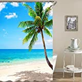 Cortina de Ducha Impermeable a Prueba de Moho Impermeable Sea Beach con impresión Digital-6_180x200cm