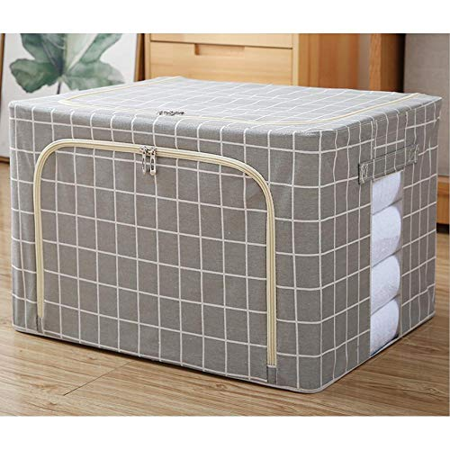 N / C Storage Box Folding Home Bedroom Clothes Cotton Linen Fabric Transparent Window 50x40x33cm (19.69x15.75x12.99in)