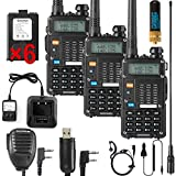 Ham Radio Walkie Talkie (UV-5R 8-Watt) UHF VHF Dual Band 2-Way Radio with 2 Rechargeable 2100mAh Battery Handheld Walkie Talkies Complete Set with Earpiece and Programming Cable (3 Pack)