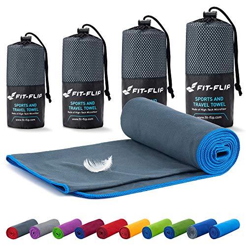 Fit-Flip Mikrofaser Handtuch Set – 18 Farben, viele Größen – Ultra leicht & kompakt – das perfekte Sporthandtuch, Strandhandtuch und Reisehandtuch (100x200cm, Dunkelgrau - Blau)