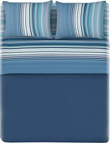 HomeLife Set Lenzuola Letto Matrimoniale Cotone Made in Italy   Completo 2 Piazze + Federe Fantasia a Righe Azzurro   Lenzuolo Sopra 240x300 + Sotto con Angoli 180x200 + 2 Federe 52x82   2P